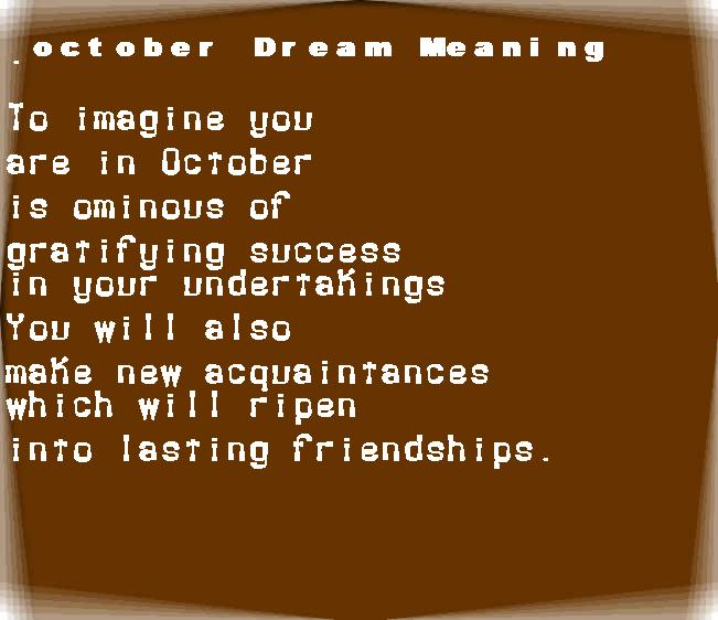 dream meanings october