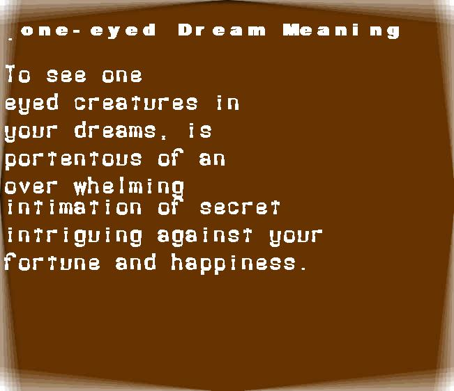dream meanings one-eyed
