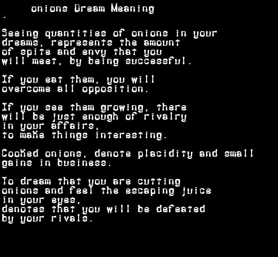 dream meanings onions
