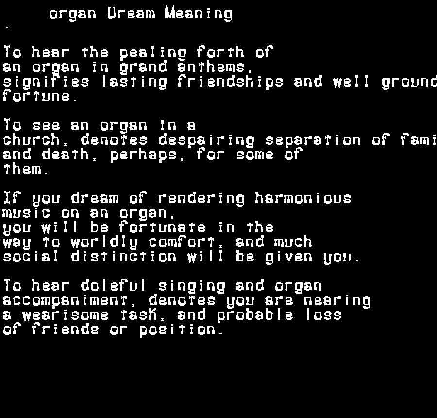 dream meanings organ