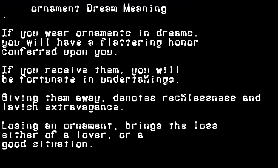 dream meanings ornament