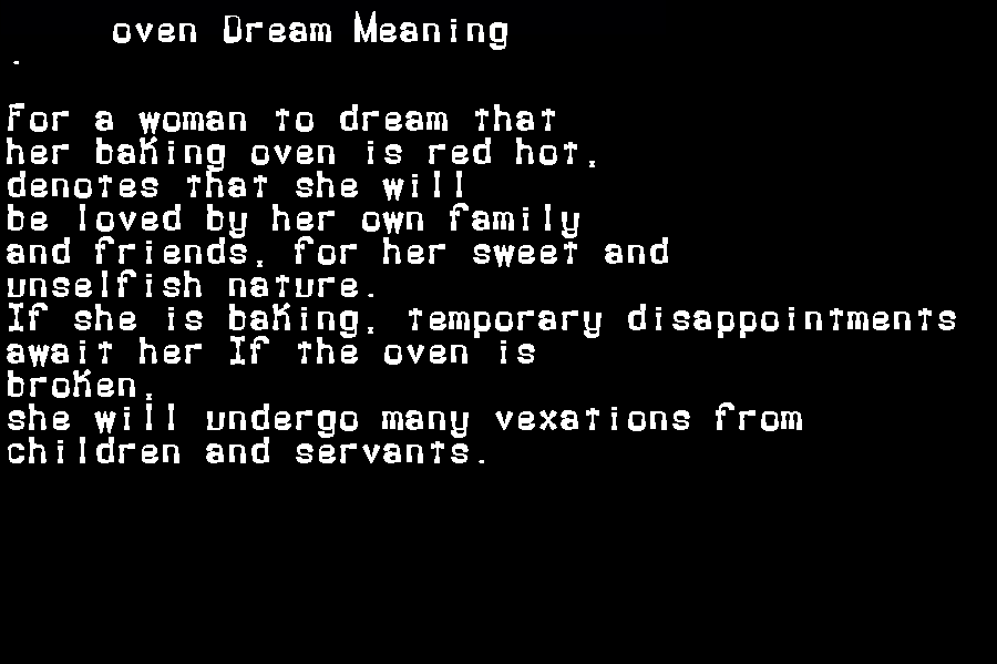 dream meanings oven