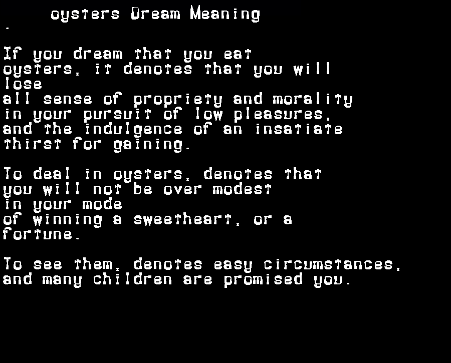 dream meanings oysters