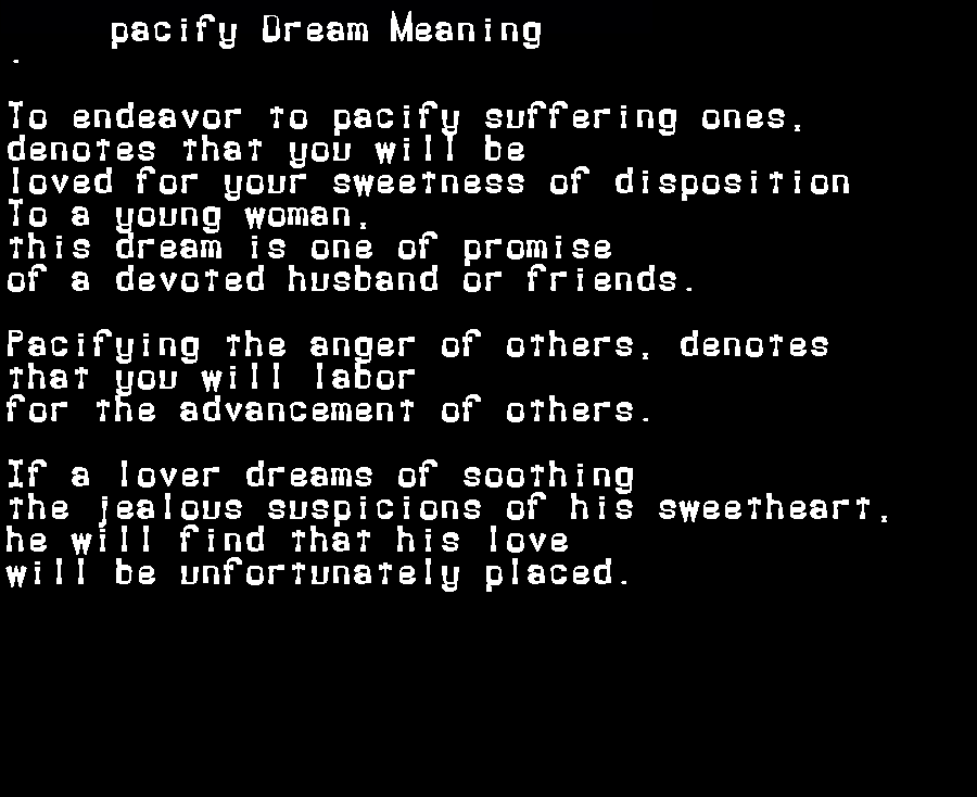 dream meanings pacify