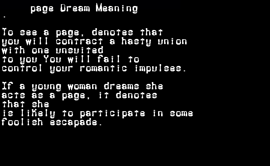 dream meanings page