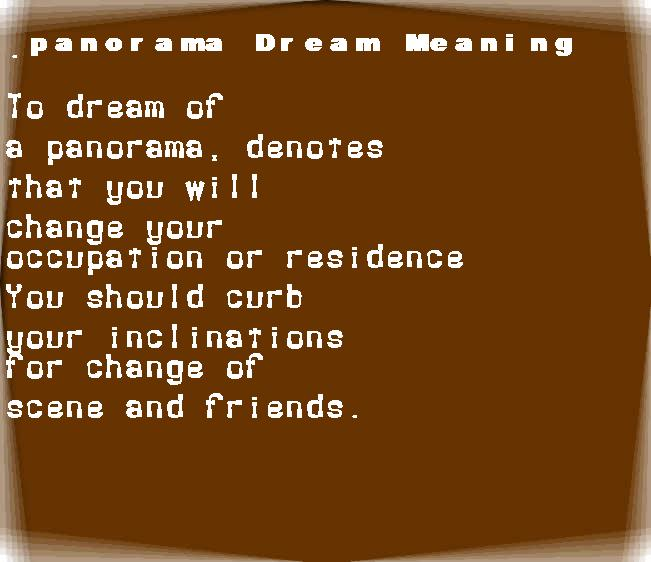 dream meanings panorama