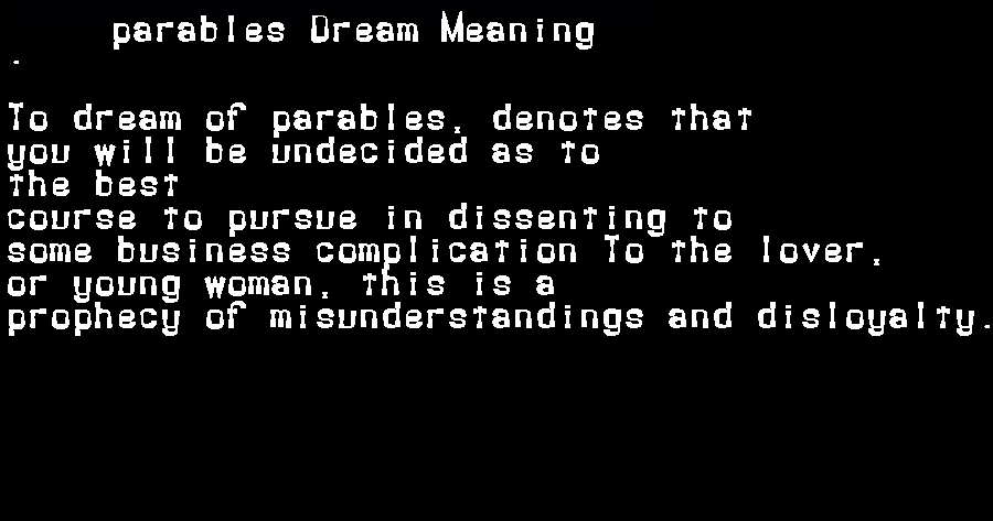 dream meanings parables
