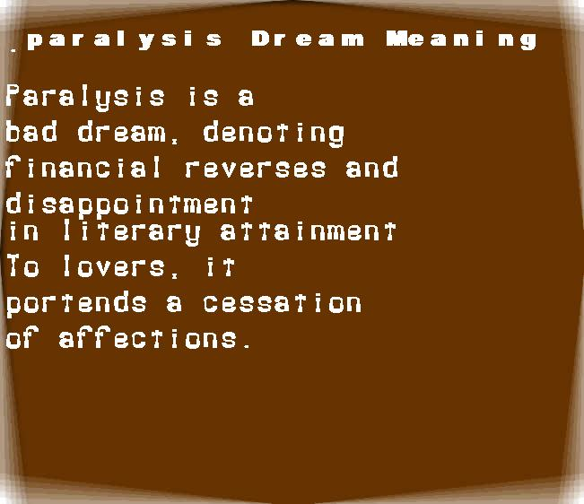 dream meanings paralysis