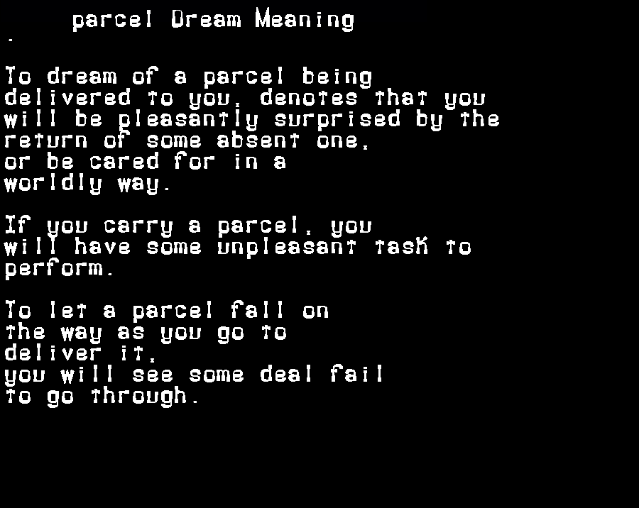dream meanings parcel