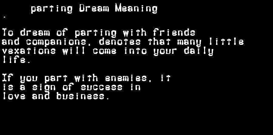 dream meanings parting