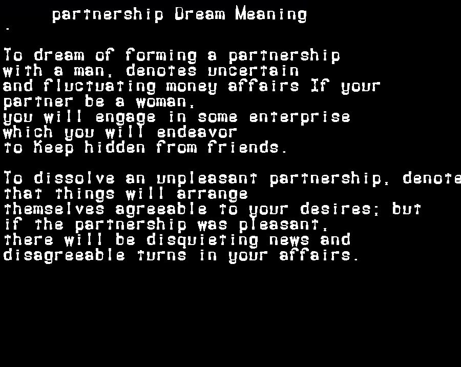 dream meanings partnership