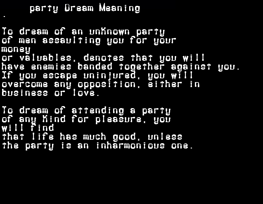 dream meanings party