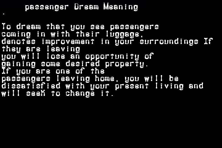dream meanings passenger