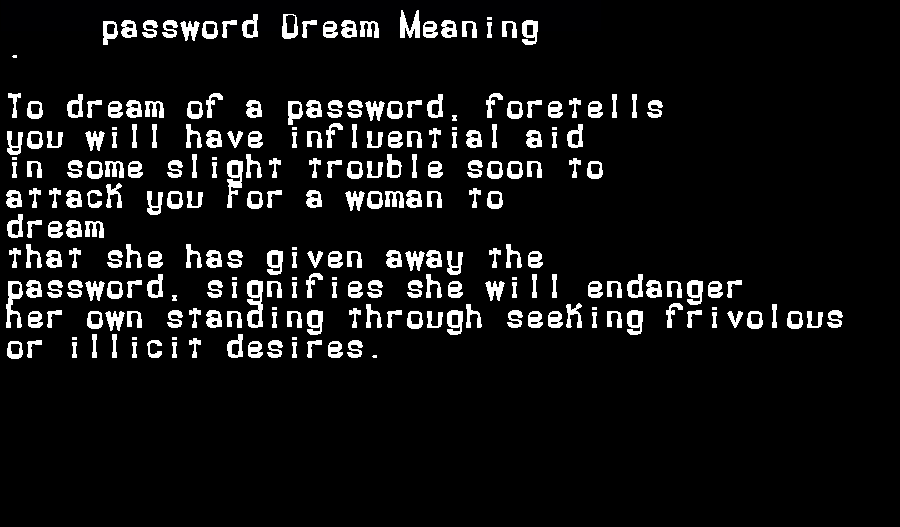 dream meanings password