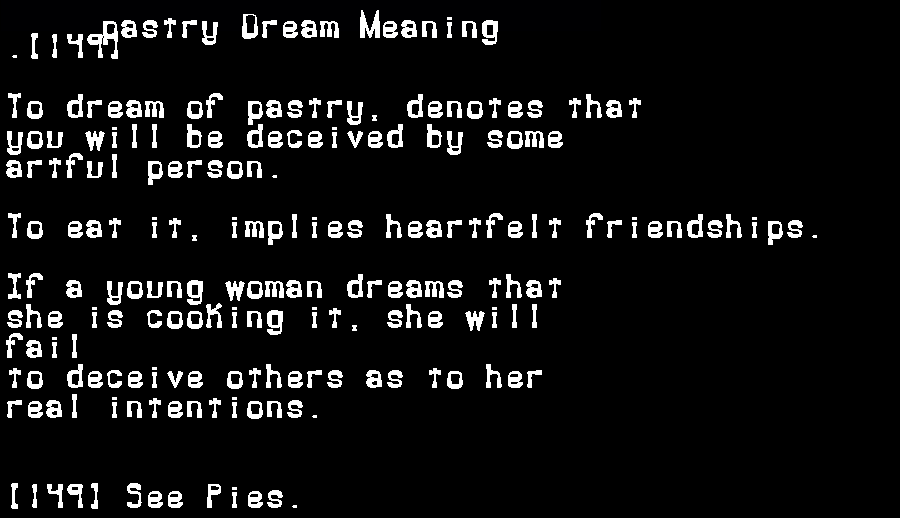 dream meanings pastry