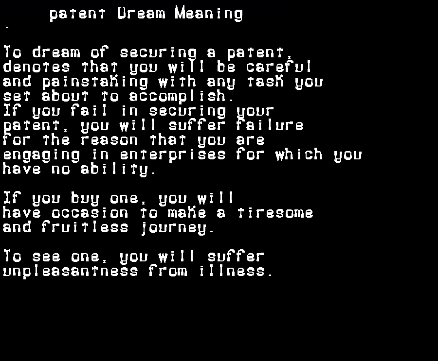 dream meanings patent