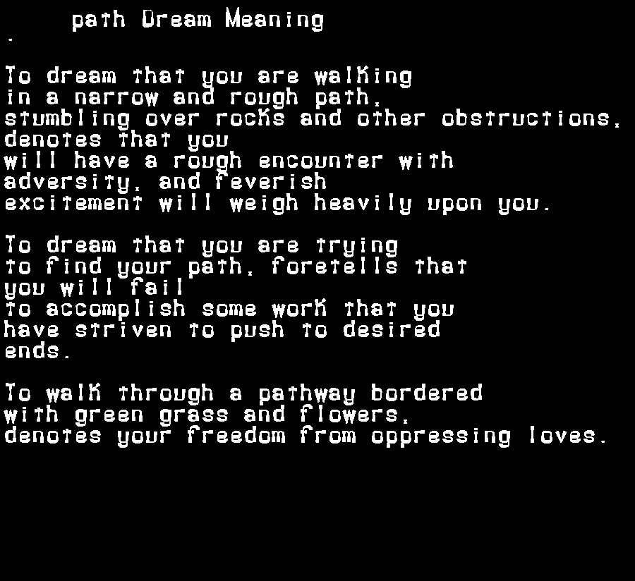 dream meanings path