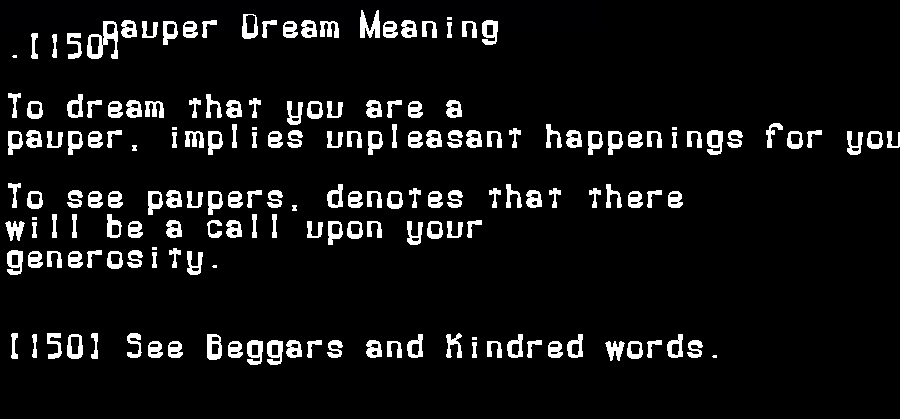 dream meanings pauper