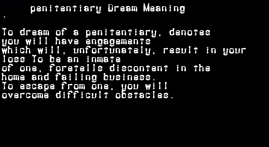 dream meanings penitentiary