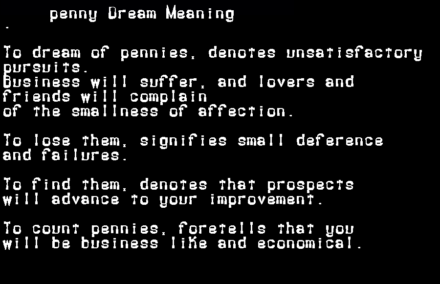 dream meanings penny