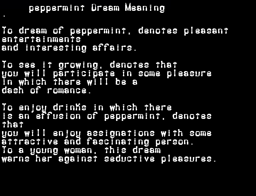 dream meanings peppermint
