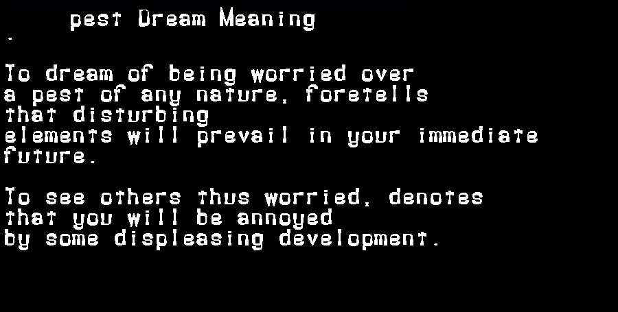 dream meanings pest