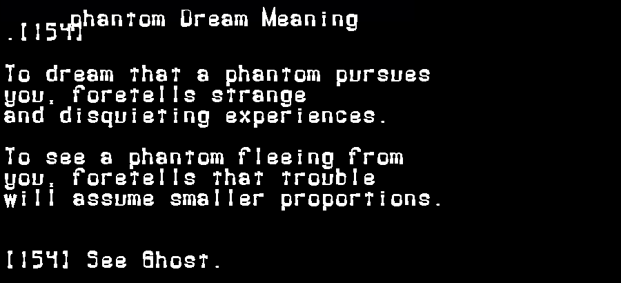dream meanings phantom