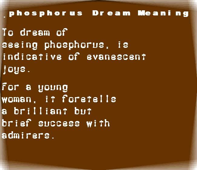 dream meanings phosphorus