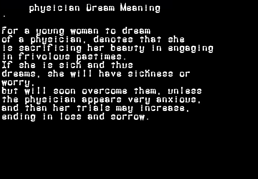 dream meanings physician