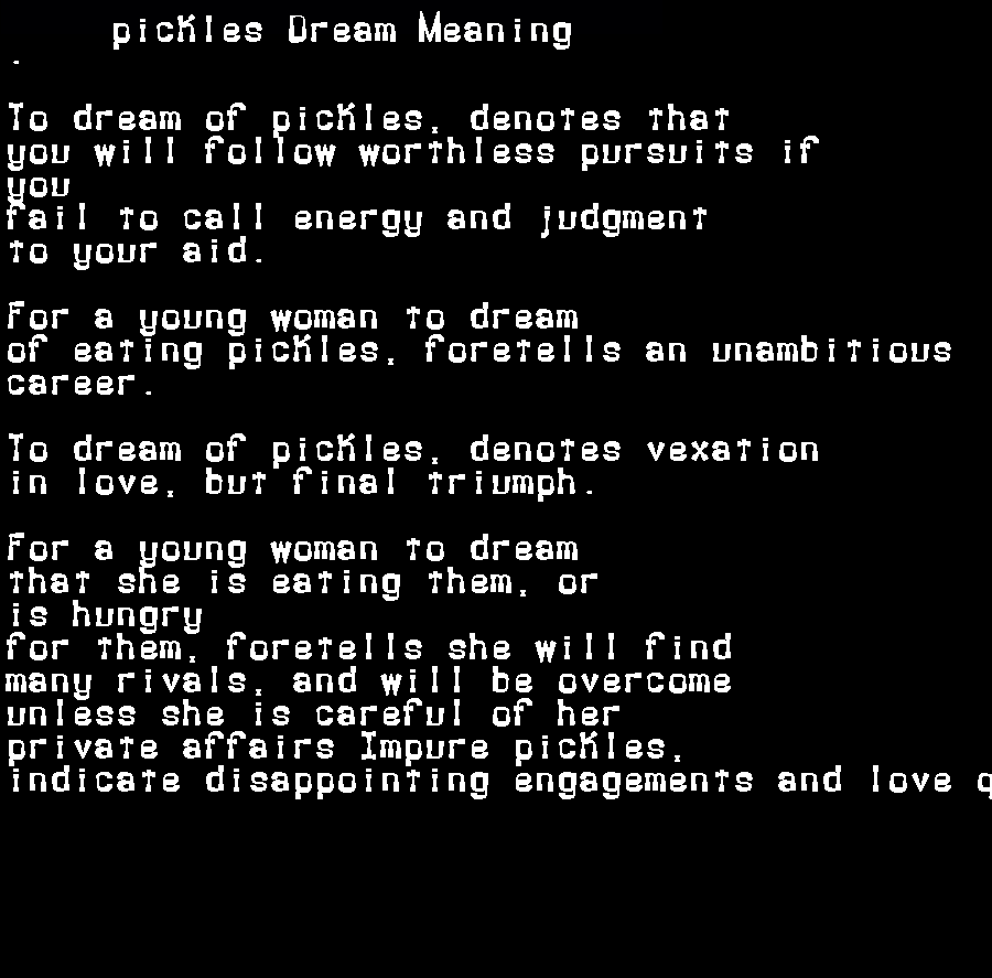 dream meanings pickles