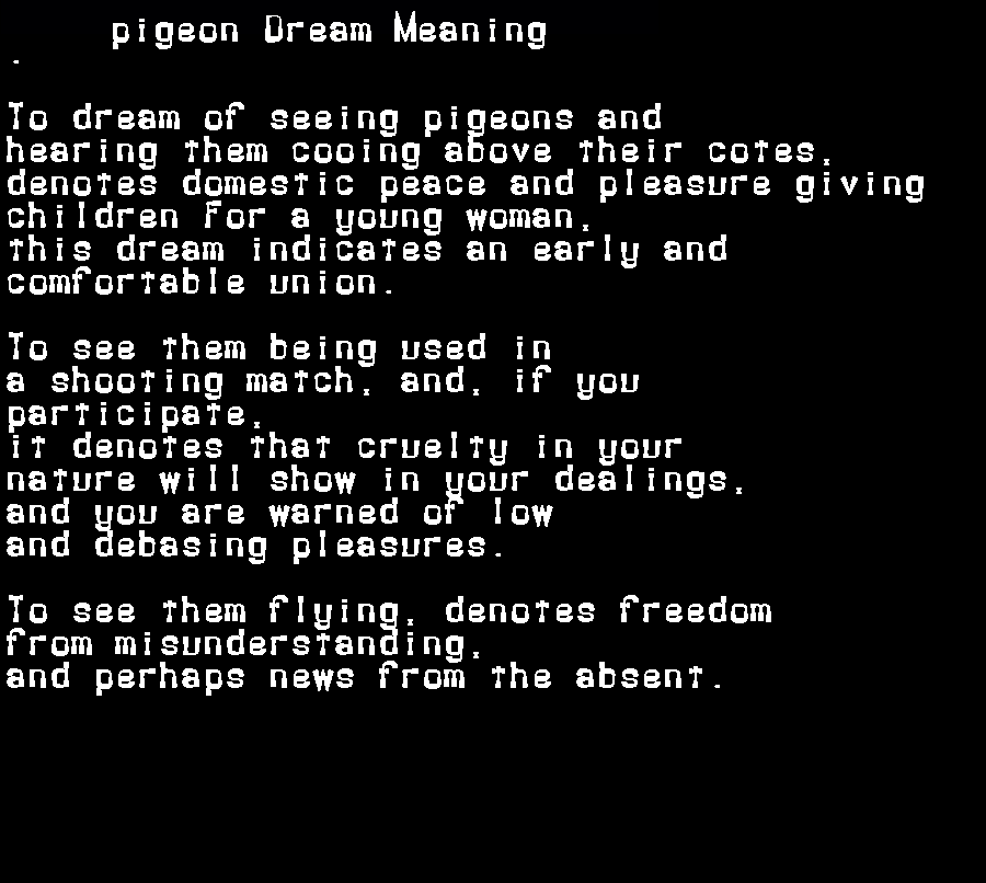 dream meanings pigeon