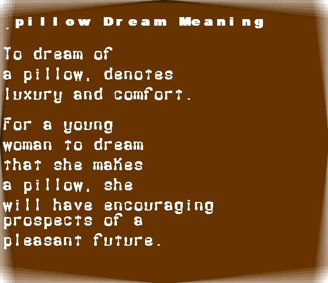 dream meanings pillow