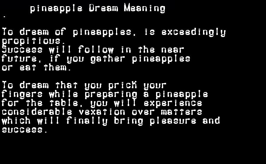 dream meanings pineapple