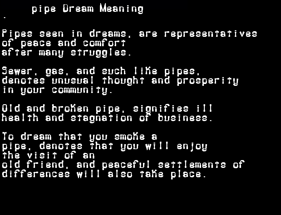 dream meanings pipe