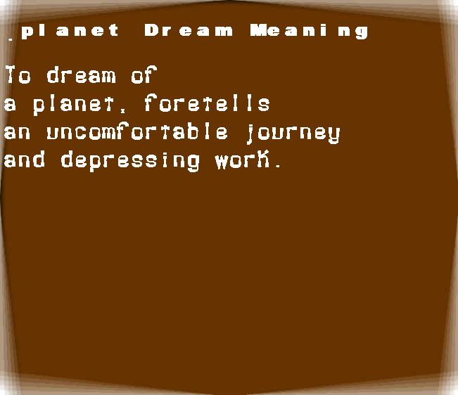 dream meanings planet