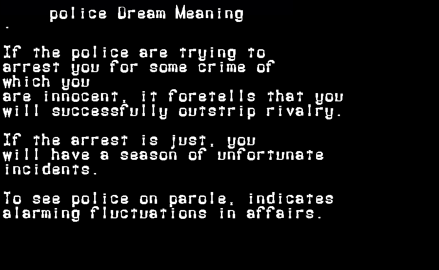 dream meanings police