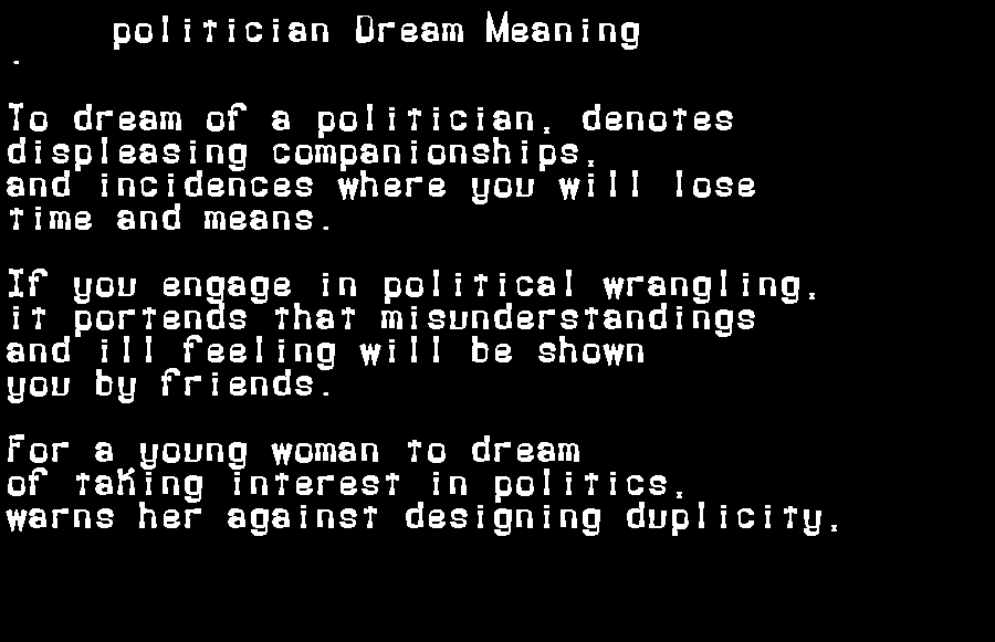 dream meanings politician