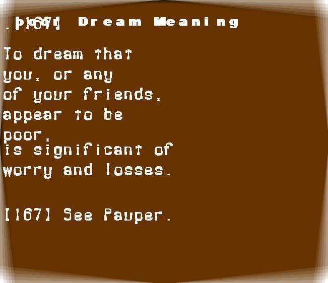 dream meanings poor
