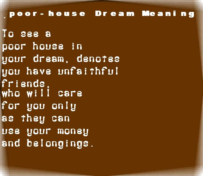 dream meanings poor-house