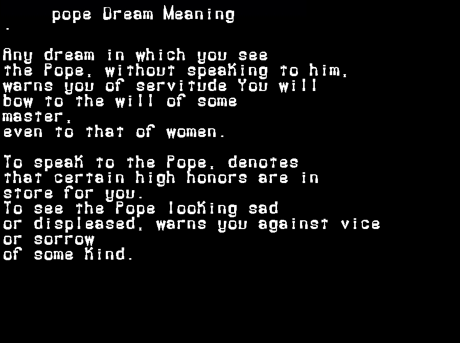 dream meanings pope