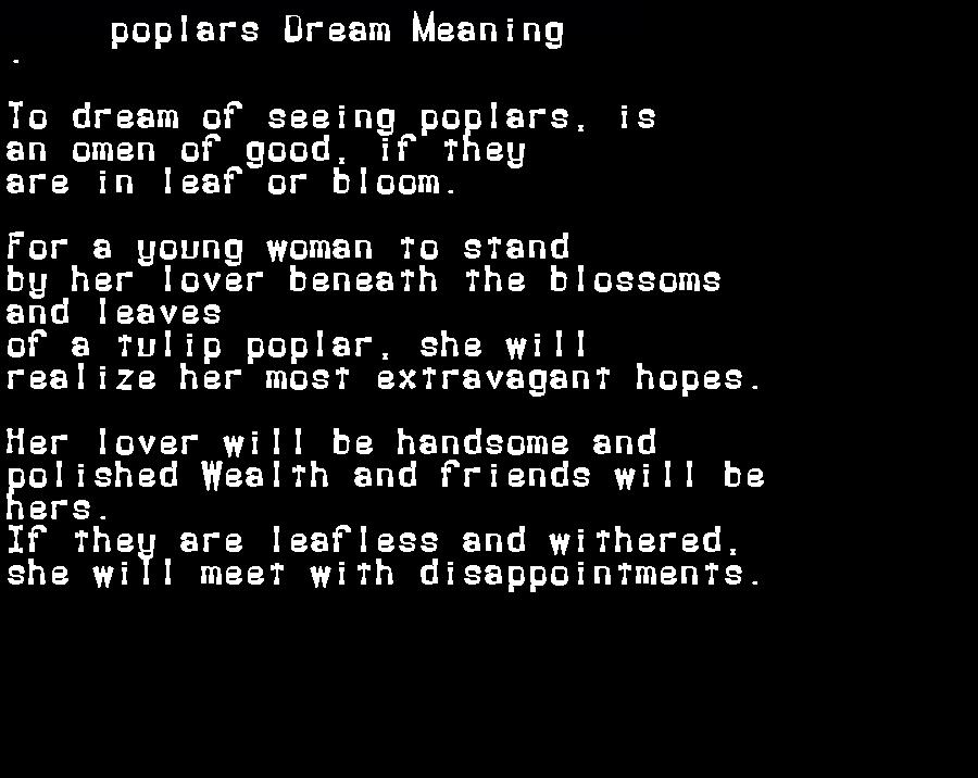 dream meanings poplars