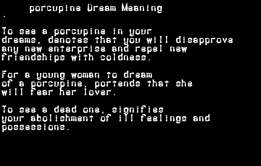 dream meanings porcupine
