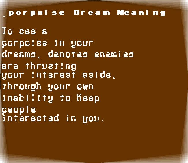 dream meanings porpoise
