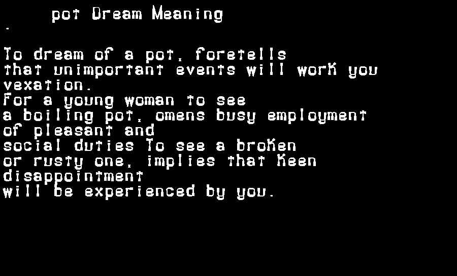 dream meanings pot