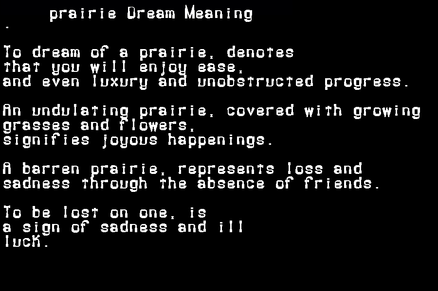 dream meanings prairie