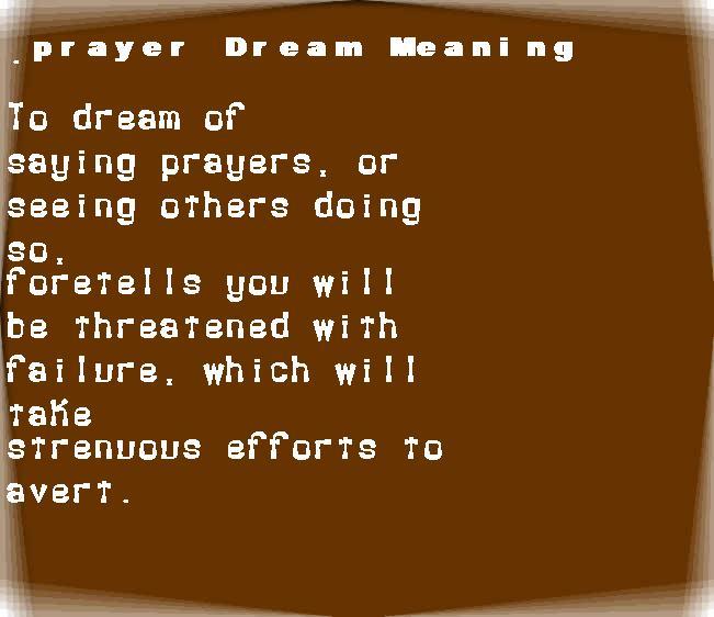 dream meanings prayer