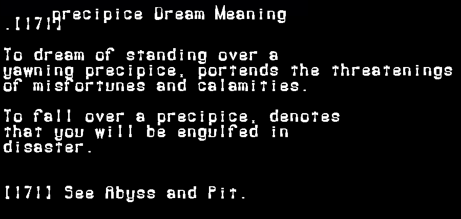 dream meanings precipice