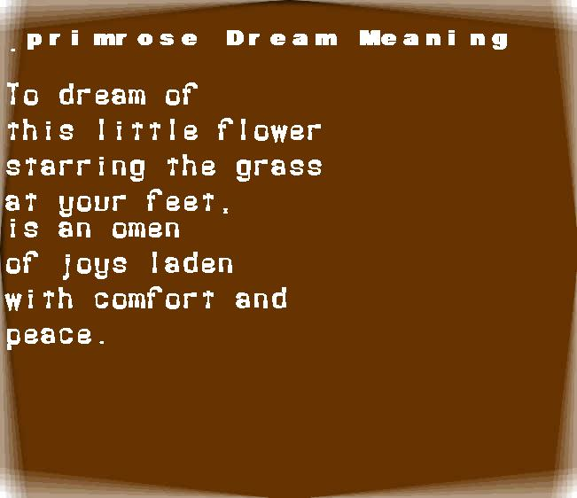 dream meanings primrose