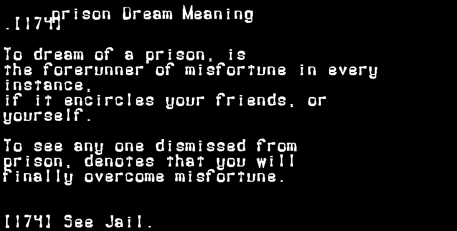 dream meanings prison