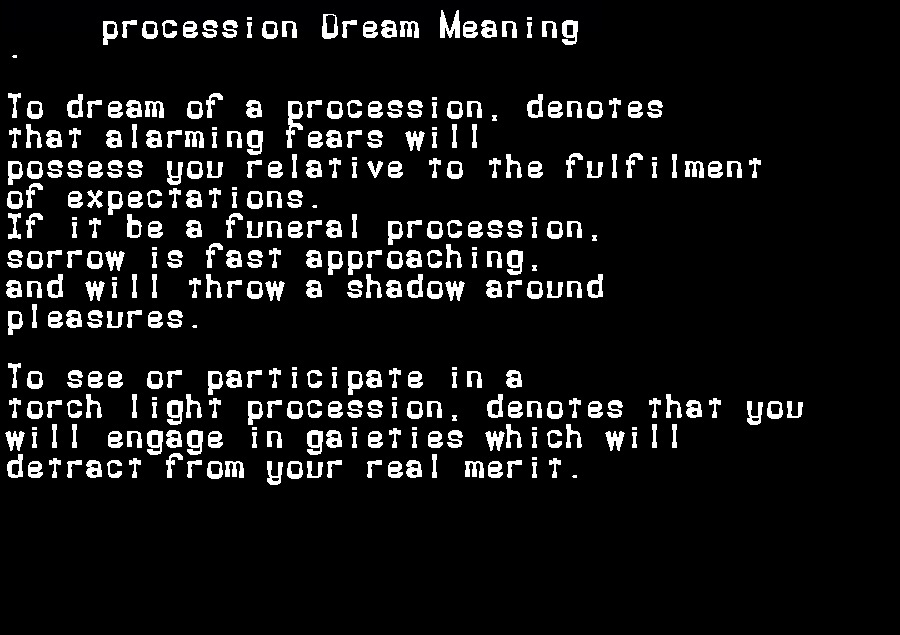 dream meanings procession